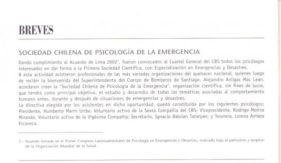 Nota Revista 1863 creacion SOCHPED Marzo 2004
